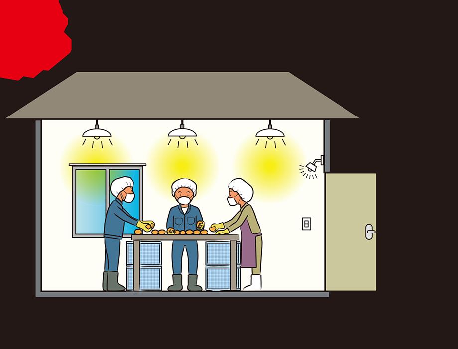 屋内の作業空間